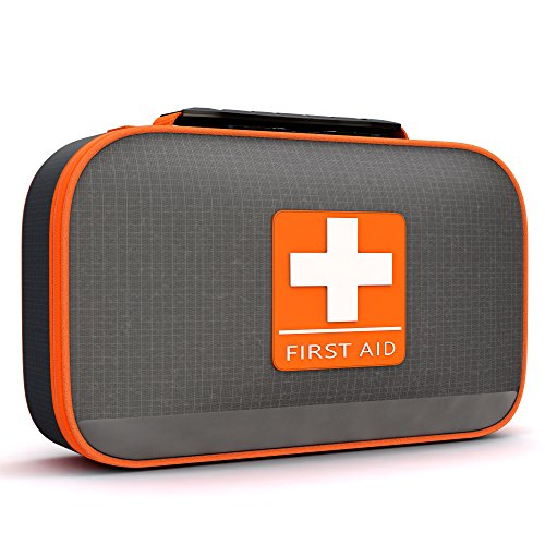 Complete First Aid Kit By Tidy Globe, Lightweight, Durable, Waterproof Case for All Emergencies,Cars, Boats, and Hiking- Grey