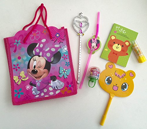(8x Pack Minnie Goody Bags, Pre Made & Filled with Toys, Goodie, Filled Goody Bag / Loot Bag, Pop ring; LED ring; Princess Magic)