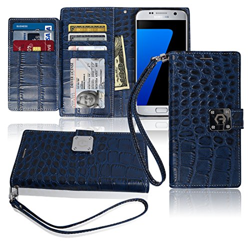s7-wallet-case-matt-8-pockets-7-id-credit-card-1-cash-slot-power-magnetic-clip-with-wrist-strap-for-