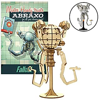 """Fallout Mr. Handy Poster & Wood Model Figure Kit - Build & Paint Your Own Game Toy Model - Puzzle Interlocking Pieces - Kids & Adults, 17+ - 6.5"""""""