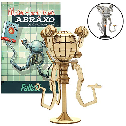 IncrediBuilds Fallout Mr. Handy Poster and 3D Wood Model Kit - Build, Paint and Collect Your Own Wooden Model - Great for Teens and Adults,17+ - 6.5