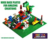 Creative Builders - 4 Pack Green + Blue Variety Pack Base Plates | Large 10