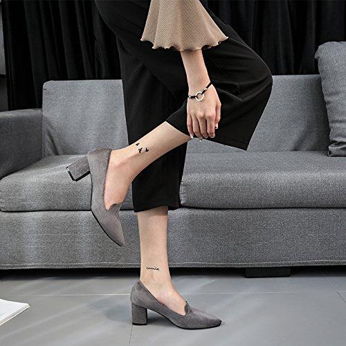 Cm Zapatos Zapatos Primavera Otoño Pointy Zapatos A Comienzos De Mujer 6 Trabajo Rudo gray La Tacón Alto HBDLH De De Salvaje Spring wH4qX7pz