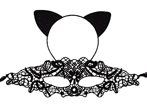 Bonnie Z. Leonardo Cat Ears Headband Lace Mask-b ()
