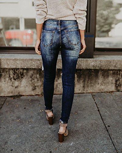 Elástico Lápiz Mujer Azul Skinny Largo De Pantalones Delgado Rasgada Vaqueros qngw87I