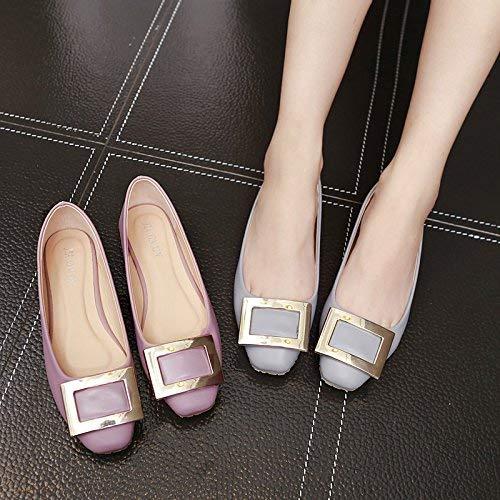 Hebilla Baja Para Solo 36 Un Corte Tamaño Calzado Cómodo De Zapatos 38 Casual color Redondos Boca Tacón Planos Bajo Cuadrada Mujer Con Violet ZwIBxv0