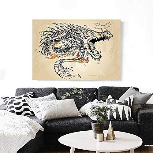 Japanese Dragon Wall Paintings Doodle Style Roaring Creature with Tail Fangs Scales Tribal Details Print On Canvas for Wall Decor 24