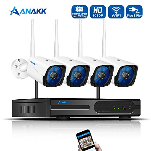 Anakk 4 Channel Wireless Security Camera System CCTV NVR Kit HD 1080P Bullet IP Cameras Waterproof Outdoor Indoor Home Surveillance Motion Detection Remote View NO Hard Drive