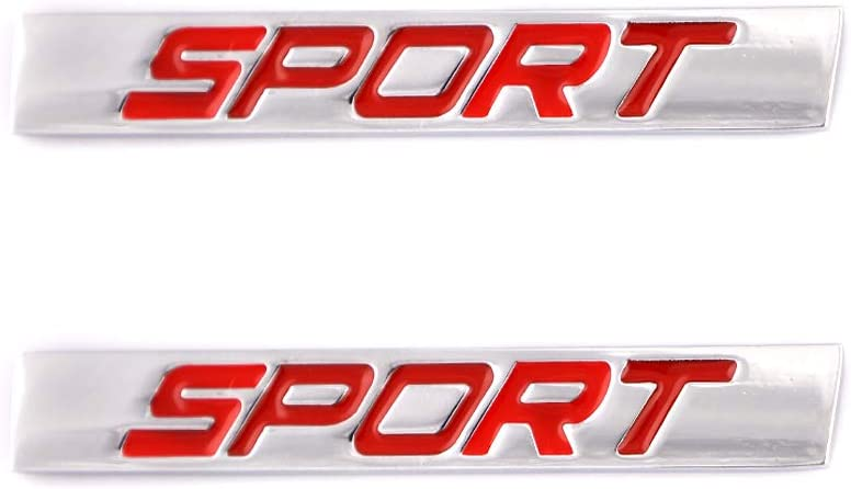 2x Sport Emblem For Car Styling Fender Trunk Turbo Metal Badge Sticker Automotive Accessories Decoration Silver-Black