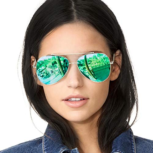 SODQW Classic Sunglasses Women Polarized, Mirrored Flat Lens UV Protection, Fashion Lightweight Frame Eyeglasses (Silver/Green Mirror Lens) ()