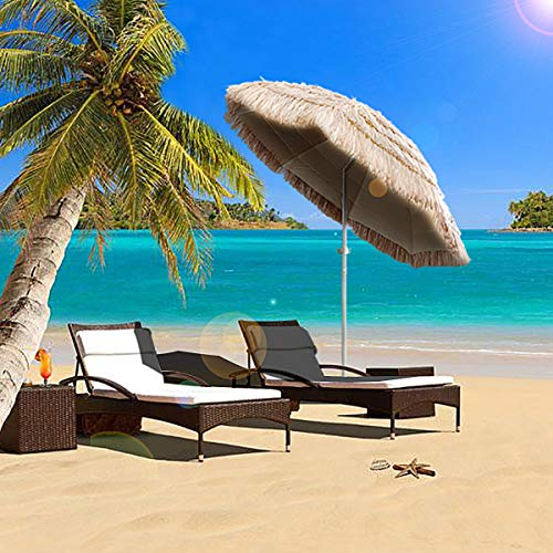 Caymus 7ft Hula Thatched Tiki Umbrella Hawaiian Style Beach Patio Umbrella Natural Color 8 ribs -