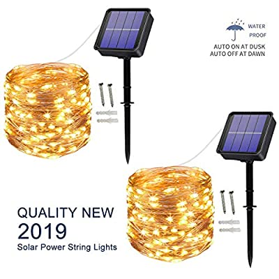 [2 Pack] Solar String Lights outdoor, 100LED 10M/ 33Ft 8 Modes Solar Fairy Lights Waterproof Outdoor/Indoor Garden Lights Copper Wire Lighting for Wedding, Patio, Yard, Festoon, Christmas (Warm white)