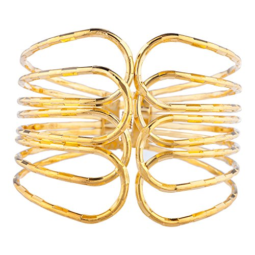 Lux Accessories Gold Tone Cut Out Open Ended Geo Cuff Fashion Jewelry Bracelet (Out Cut Tone Gold)