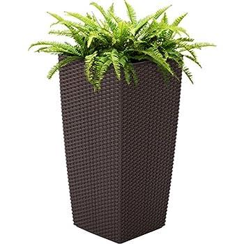 Best Choice Products Self Watering Garden Patio Wicker Planter W/ Rolling Wheels Outdoor/Indoor- Brown