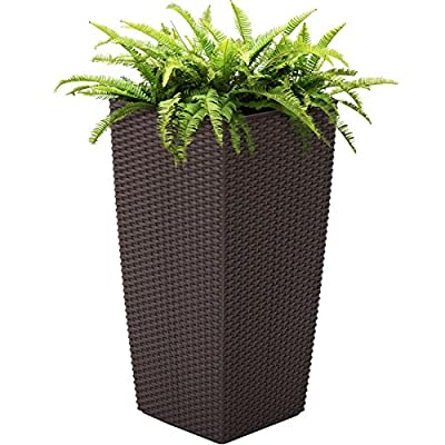 Best Choice Products 11x11in Self Watering Wicker Planter for Indoor, Outdoor w/Water Level Indicator, Wheels - Brown