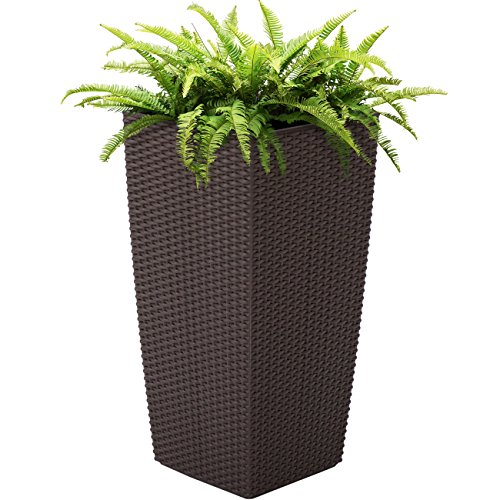 Best Choice Products 11x11in Self Watering Wicker Planter for Indoor, Outdoor, Backyard w/Water Level Indicator, Rolling Wheels - Brown (Watering Wicker Self Planter)