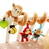 Cute Colorful Monkey Spiral Hanging Around Crib Cot Rattle Toy Plush Newborn Baby Infant Toddler Multifunctional Rattle Sound Paper Music Ball Development Toy by SamGreatWorld