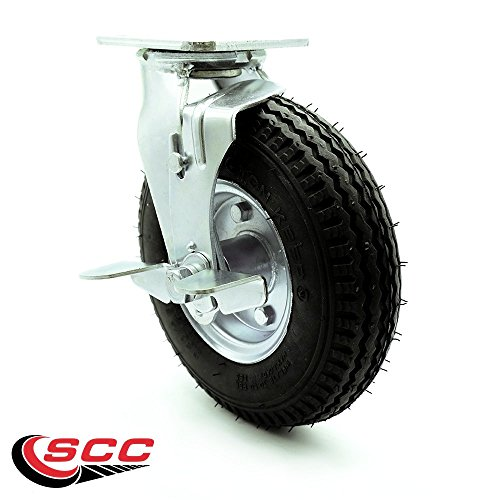 """8"""" Pneumatic Swivel Caster with Brake - Black Rubber Wheel - 300 lbs. Capacity - Service Caster Brand from Service Caster"""
