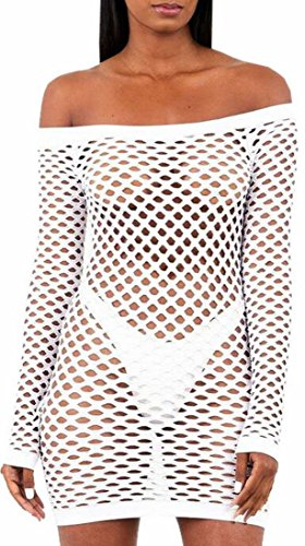 Off Club Women's Sexy Sleeve Shoulder Jaycargogo Mesh White Long Dresses Uaq0I