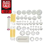 Pro Fondant Modeling Set | 46pcs Assorted Modeling Tools and Plunger Cutters for Fondant Gum Paste Sugarcraft | Dishwasher Safe Durable Smooth PP Material | White | 1128.2
