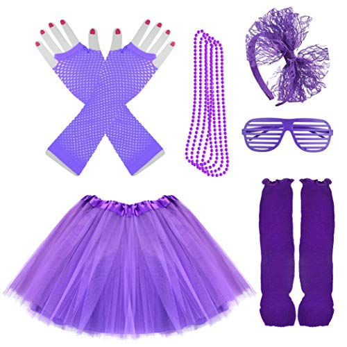 Miayon Kids 6 in 1 Costume Accessories 1970s 1980s Fancy Outfits and Dress for Cosplay Party Theme Party for Girl (Purple) -