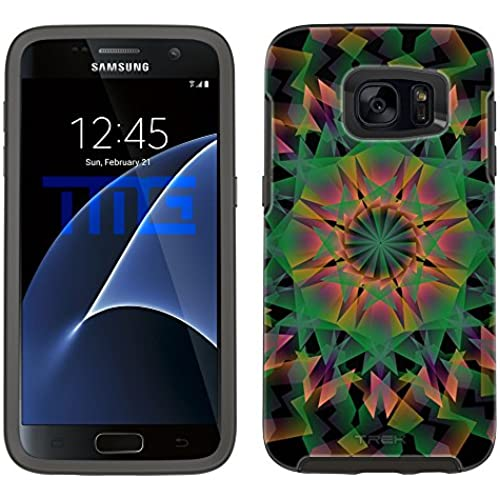 Skin Decal for Otterbox Symmetry Samsung Galaxy S7 Edge Case - Mandala Geometric Green Orange Pink on Black Sales