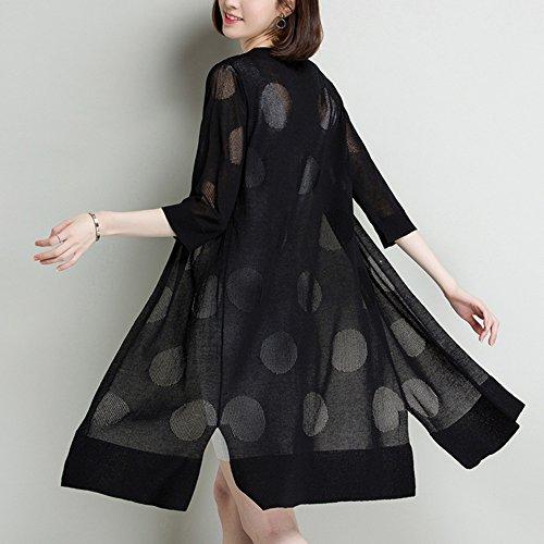 QFFL fangshaifu 純粋な色の氷のシルク編みカーディガン/夏の女性超薄型屋外ロングセクション日保護服/快適な肌に優しいシンプルなエアコンショール (色 : C, サイズ さいず : XXL)