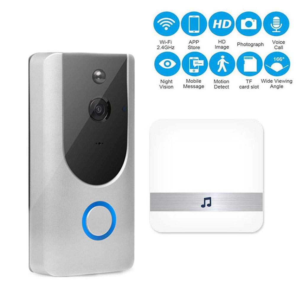 Wireless Video Doorbell, leegoal HD 720P WiFi Smart Video Doorbell mit PIR Motion Detection Two-Way Talk Night Vision App Control Support IOS und Android (Silver)