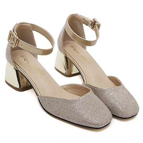 SHEO sandalias de tacón alto Hebilla de palabra de las señoras con lentejuelas gruesas con los zapatos huecos boca baja Oro