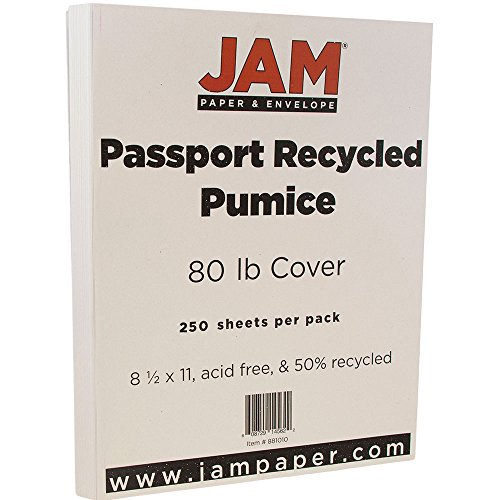 (JAM PAPER Recycled 80lb Cardstock - 8.5 x 11 Coverstock - Passport Pumice Gray - 250 Sheets/Ream)