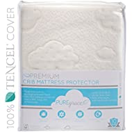 """PUREgrace Crib Mattress Protector (28"""" x 52"""") made with All Natural Hypoallergenic TENCEL, Soft and Breathable Waterproof Mattress Pad and Fitted Cover in one"""