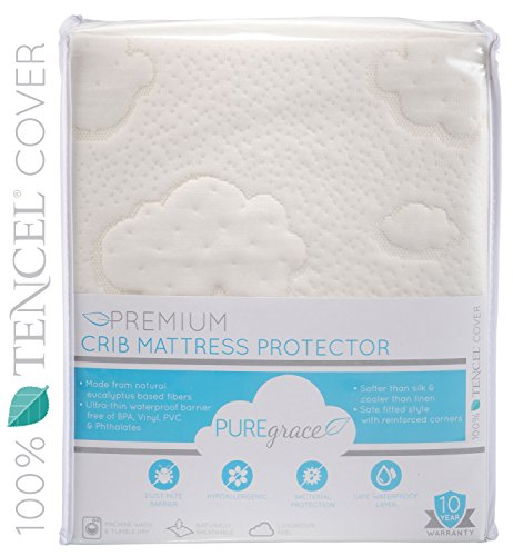 PUREgrace Crib Mattress Protector (28'' x 52'') made with All Natural Hypoallergenic TENCEL, Soft and Breathable Waterproof Mattress Pad and Fitted Cover in one by PUREgrace