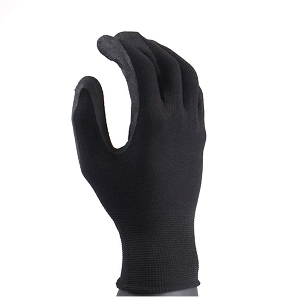 Gardening Works Pruning Gloves Non-slip Gardening Gloves Labor Insurance Dipped Rubber Wear-resistant Latex Breathable Thin Section Unisex Thorn and Cut Proof Gloves ( Color : Black , Size : L )