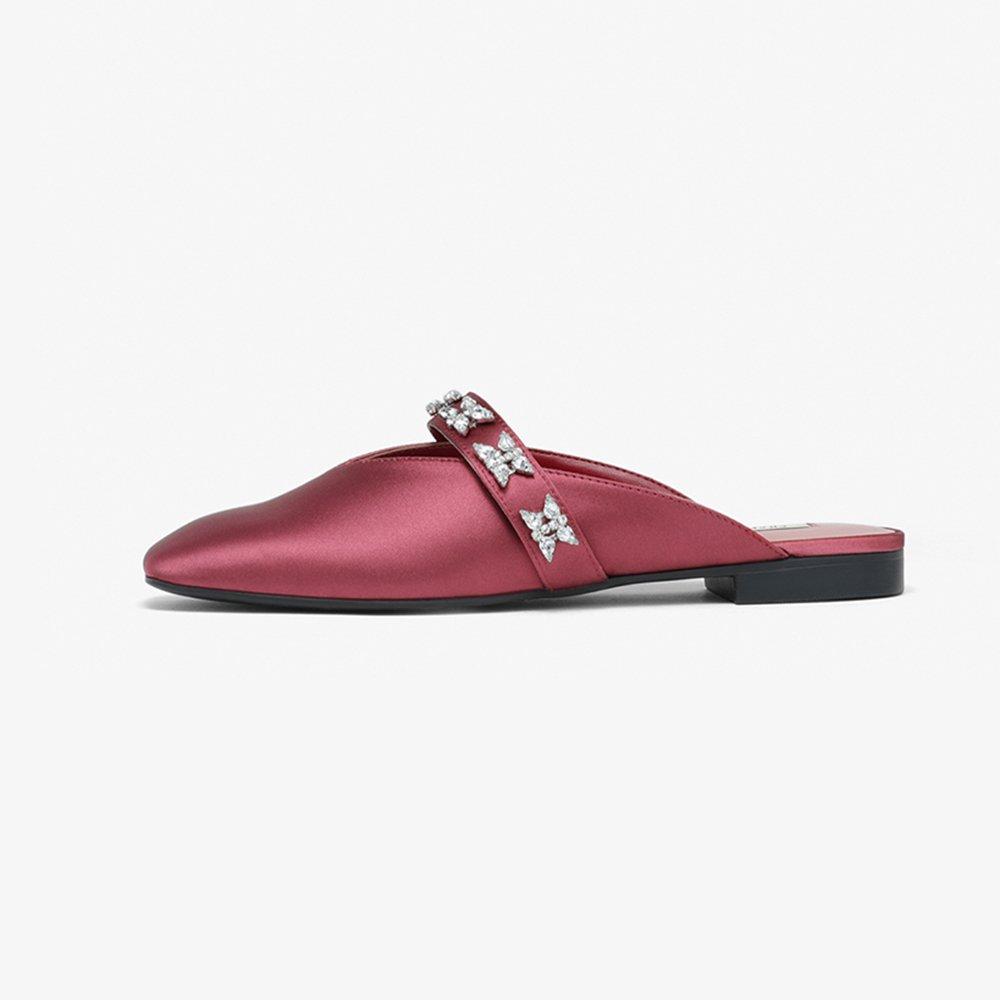 YQQ Sandaleen Und Hausschuhe Strass Flache Schuhe Flache Schuhe Frauen Schuhe Frühlings- Und Sommerschuhe Gemütlich Mode Dame Mädchen (Farbe : ROT, größe : EU36/UK4)
