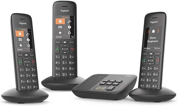 Gigaset C570A Trio - Teléfono (Teléfono DECT, Terminal inalámbrico, Altavoz, 200 entradas, Identificador de Llamadas, Negro): Amazon.es: Electrónica