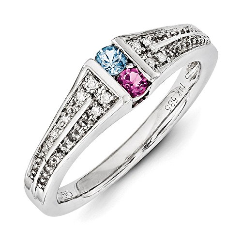 Family Celebration Rings 14K White Gold Family Jewelry Genuine Stone and Diamond Set Ring Size One Size