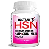 Instant HSN All-Natural Hair, Skin, and Nails Strengthening Formula MAXIMUM Strength Purest Biotin hair growth supplement, COMPLETE Blend of Daily Hair, Skin, and Nails Supplement. For Sale