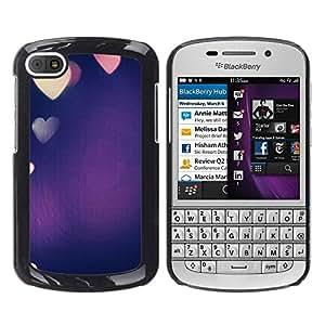 Be Good Phone Accessory // Dura Cáscara cubierta Protectora Caso Carcasa Funda de Protección para BlackBerry Q10 // colorful blue purple heart love lights