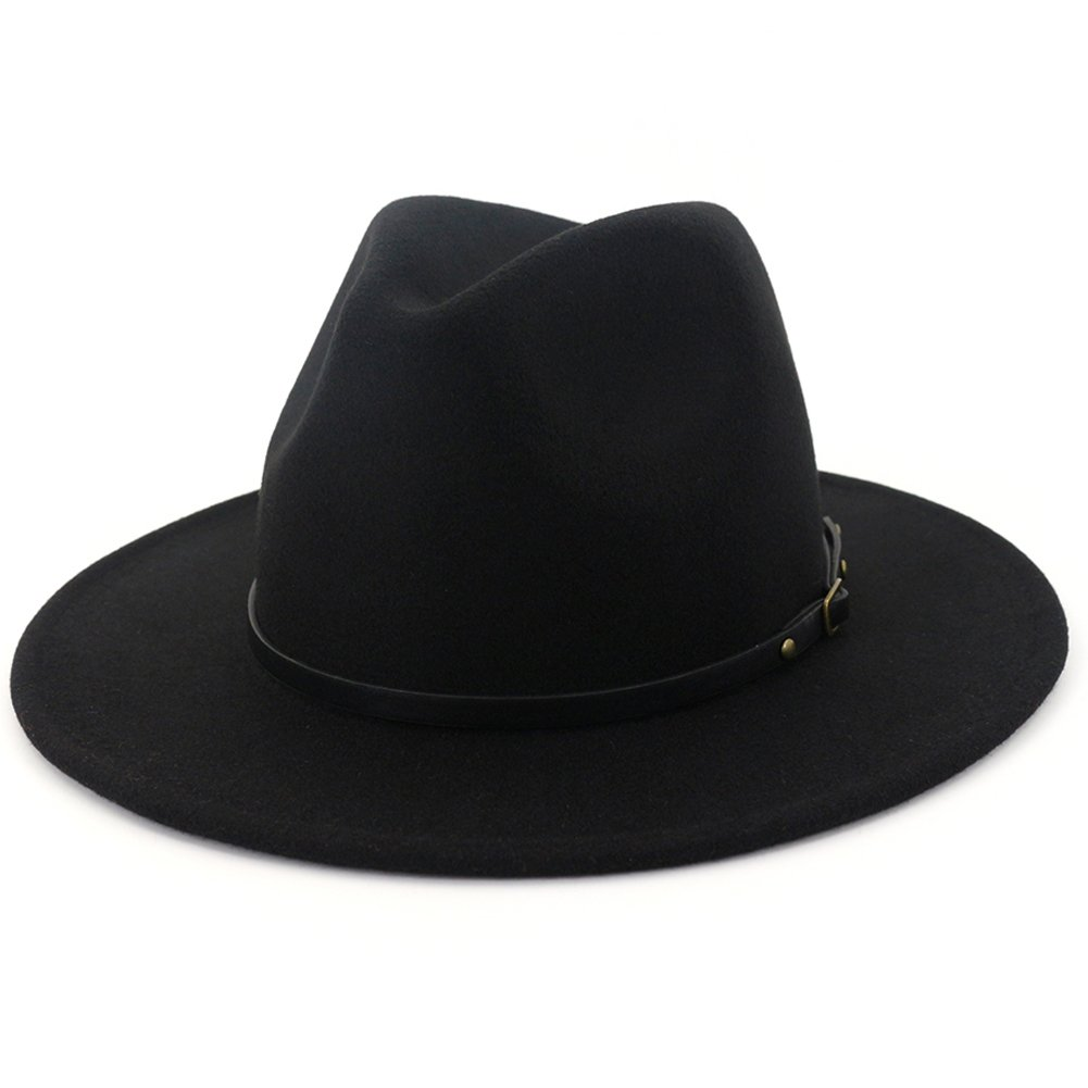 1faaa01ba77232 Lisianthus Women Wide Brim Wool Fedora Panama Hat with Belt Buckle Black at  Amazon Women's Clothing store: