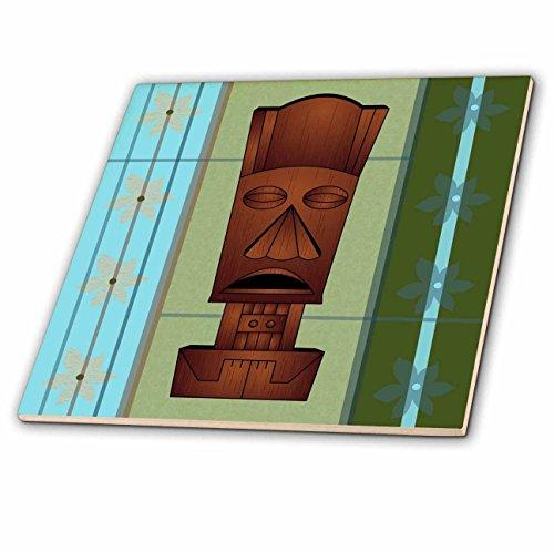 Janna Salak Designs Tiki Masks - Wood grain Tropical Tiki Mask - Hawaiian Flowers Orange Blue and Green - 12 Inch Ceramic Tile (ct_77493_4)