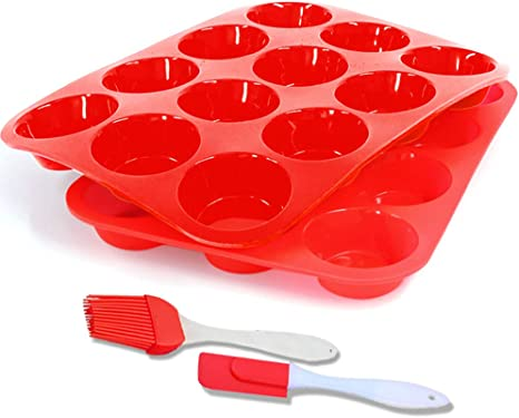 Silicone Muffin Pan,12-Cup Muffin Trays Red Silicone Cupcake Baking Pans/Non Stick/Dishwasher - Microwave Safe(2pack)(Red+Red)