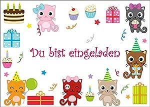 10 tarjetas de invitación Felicitaciones Gatos/Cumpleaños ...