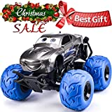 NQD 9025 Electric RC Car Off Road Vehicle 2.4Ghz Radio Remote Control Car 360° Spin Monster Truck Dancing Stunt Cartoon Toy Car, Blue