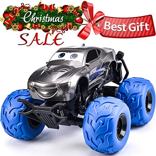 NQD Electric RC Car Off Road Vehicle 2.4GHz Radio Remote Control Car 360° Spin Monster Truck Dancing Stunt Cartoon Toy - Truck Blue Rc