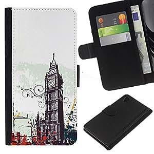 Sony Xperia Z4 / Sony Xperia Z4V / E6508 , la tarjeta de Crédito Slots PU Funda de cuero Monedero caso cubierta de piel ( Big Ben City London England Symbol Art)