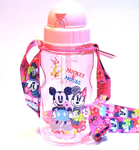 Authentic Mickey Mouse Tritan Water Bottle with 2 Straws Strap-Removable