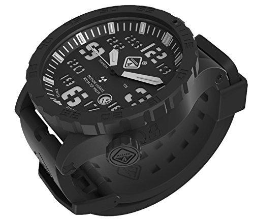 Heavy Water Diver(TM) Titanium Tritium Dive-Watch by Hazard 4(R): Black PVD, Blk Dial/Wht Graphics - GGYG by HAZARD 4