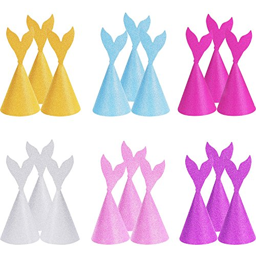 SATINIOR 18 Pieces Glitter Mermaid Tail Party Hats Birthday Crown for Party Decoration Coming with Ropes