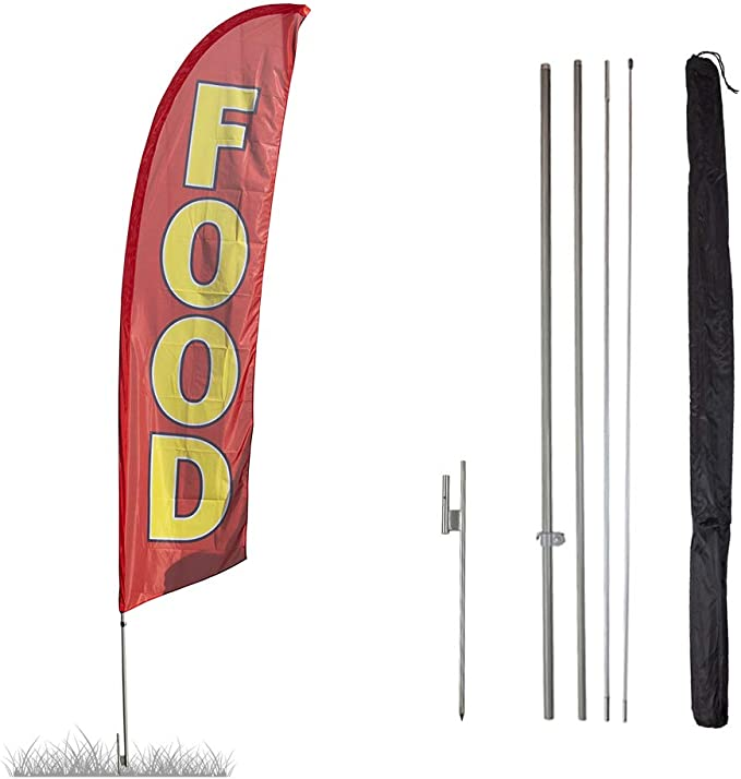 Shrimp Restaurant Advertising Feather Flag Banner w//Pole kit and Ground Spike