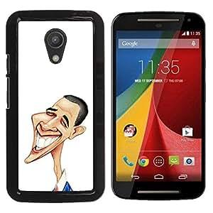LECELL -- Funda protectora / Cubierta / Piel For Motorola MOTO G 2ND GEN II -- Funny Art Obama --